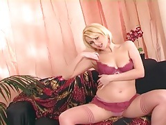Masturbating in thigh high lingerie and high heels tubes