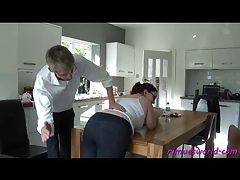 Girl with a fat ass bent over and spanked hard tubes