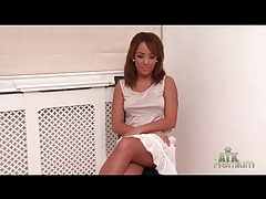 Interview with a lovely girl in a skirt tubes