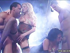 Big tit babe gets double penetration tubes