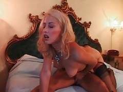 She takes toy to pussy as he fucks her ass tubes
