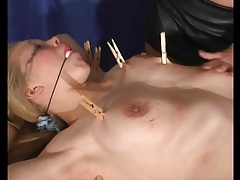 Leather skirt mistress flogs bound submissive tubes