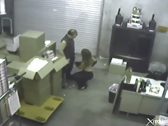 Blowjob in the warehouse caught on security camera tubes