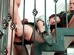Cfnm sex with two beautiful women in satin tubes