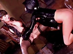 Soaking wet women have lesbo toy sex tubes