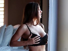 She strips off black lace bra to show her big tits tubes