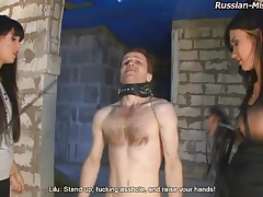 Bound man roughly abused by two russian girls tubes