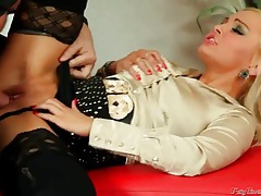 He pisses all over this hot bitch in a blouse tubes