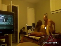 Older guy fucks the cute young lady with tv on tubes