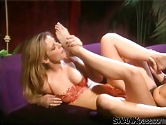 Lesbians with a foot fetish fool around sensually tubes