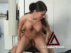 Big tits babe in boots loves to fuck her man tubes
