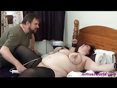 Nipple pain and pussy vibration for tied fat girl tubes