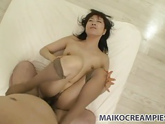 Cumming hard in her slippery japanese pussy tubes
