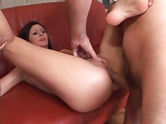 Gently working his dick into her slutty asshole tubes