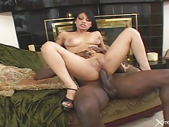 Asian rides black cock and gobbles that knob tubes