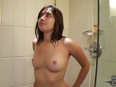 Perky tits brunette gropes in the shower tubes