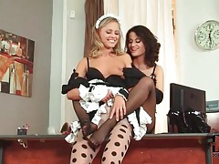 Foxy french maid in foot fetish scene with girl tubes