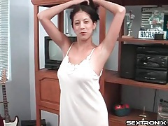 Cute nightgown on natural young lady sucking cock tubes