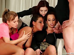 Four hot women piss all over him in sexy video tubes