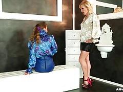 Elegant satin blouse girls in lesbian video tubes