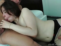 Transsexual in stockings sucks cock lustily tubes