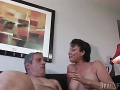 Milf takes a poking in her hairy old pussy tubes