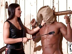 Black guy in bondage abused by mistress tubes