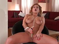 Busty masturbating girl with long wavy hair tubes