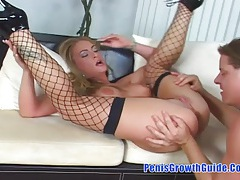Tough sex for awesome blonde slut and got anal tubes