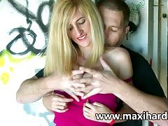Blonde whore fucks a dude and her gf watches tubes