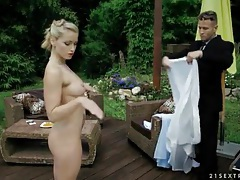 Sexy doll in satin and stockings masturbates outdoors tubes