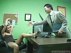 Upskirt and footjob tease in her office tubes