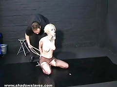He makes girl in ripped pantyhose suffer pain tubes