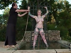 Big tits girl put in bondage by master outdoors tubes