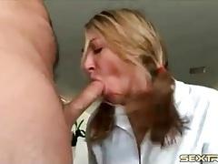 Cocksucking slut gags on his boner tubes