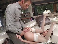 Petite girl in beautiful white stockings ass fucked tubes