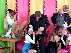 Masked ladies look hot in a hardcore group video tubes