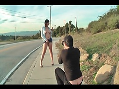Brunette does public upskirt photo shoot tube