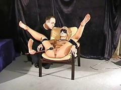 Blindfolded blonde girl smacked with his cane tubes