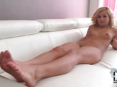 Pretty blonde models feet and skinny body tubes