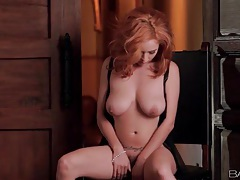 Lingerie masturbation with a sexy redhead tubes