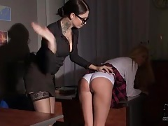 Schoolgirl over the knee of mistress and spanked tubes