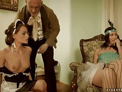 Pornographic costume drama with maid sucking dick tubes