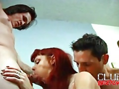 Cocksucking and cunt fucking in threesome clip tubes