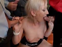 Small bukkake scene with cocksucking blonde tubes