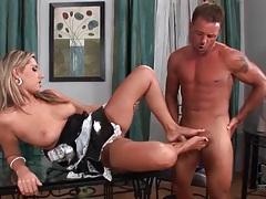 French maid takes hot load on her sexy feet tubes