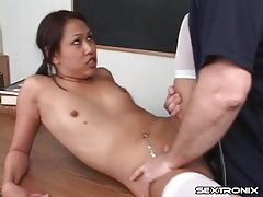Teacher fucks creampie into her asian pussy tubes
