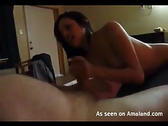 Chubby guy blown by sexy young hooker in bed tubes