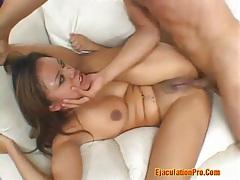 Deep throat for a latina and a facial cum tubes
