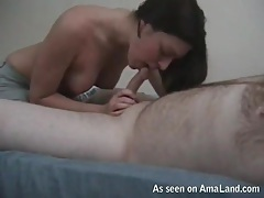 Cocksucking girl sits her bald pussy on his boner tubes